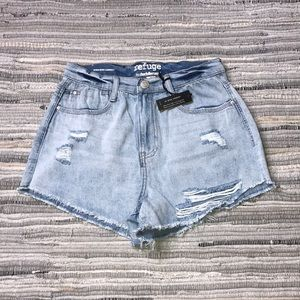 Distressed Cut High Rise Cheeky Denim Shorts